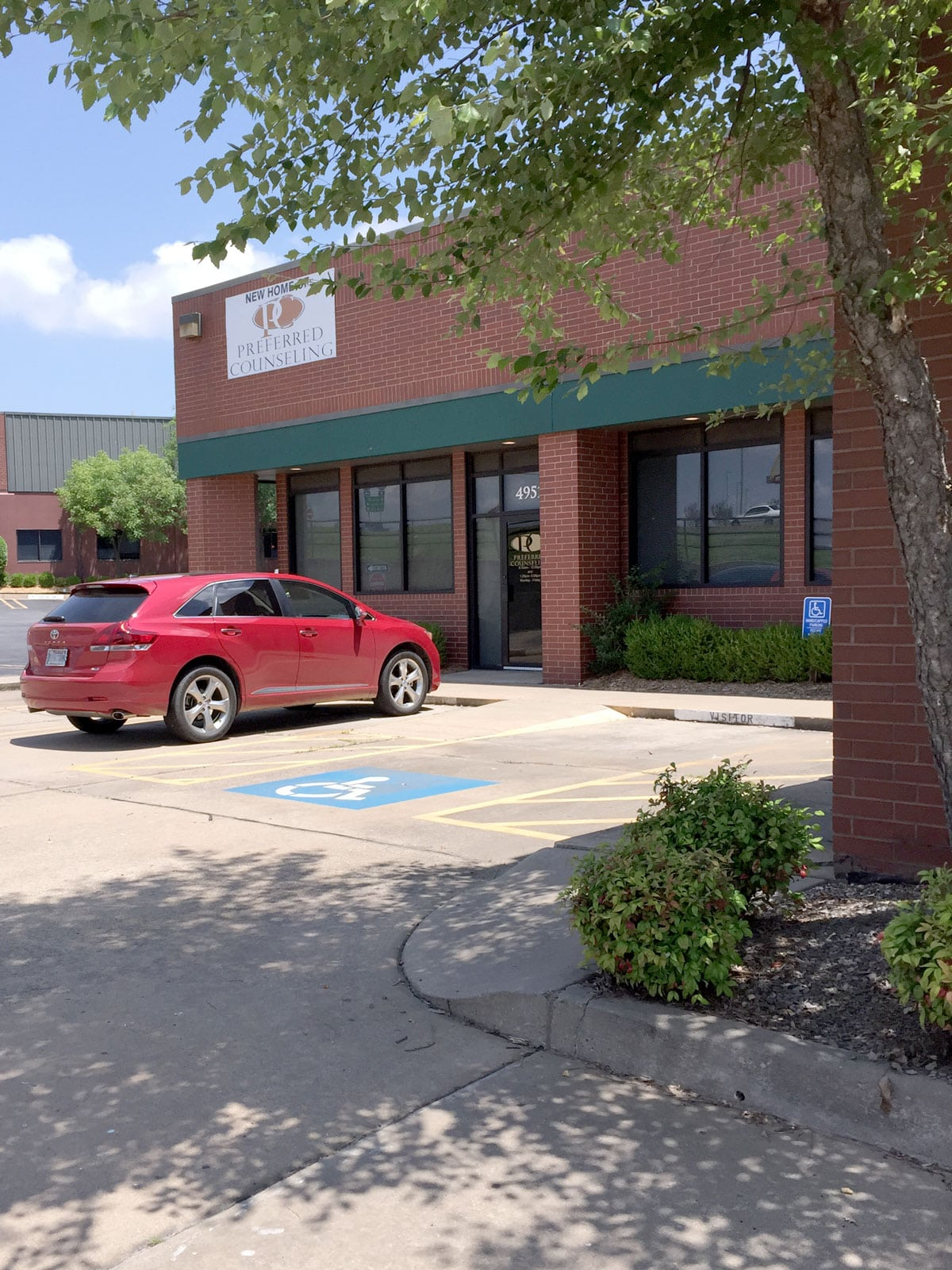 Preferred Counseling's parking area outside